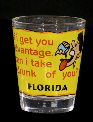 "Funny Shot Glass  ""If I get you advantage, can I take drunk of you?"" (Custom Imprint Available)"