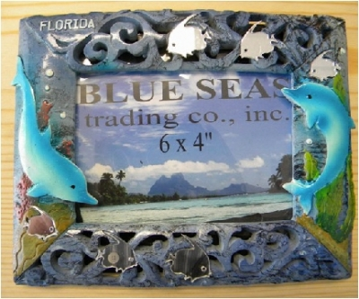 Blue Resin Photo Frame - Dolphin Design
