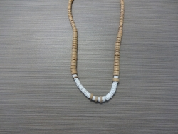 N-8311  - White Coco & Clam Shell Necklace