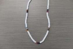 N-8320 - Multi & White Clam Shell Necklace