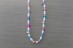 N-8330  - Multi Color Chip & Clam Shell Necklace