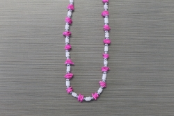 N-8331  - Pink Chip & Clam Shell Necklace