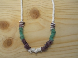 N-8334  - Purple, Green Chip & Clam Shell Necklace