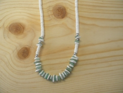 N-8335  - Green, White Chip & Clam Shell Necklace