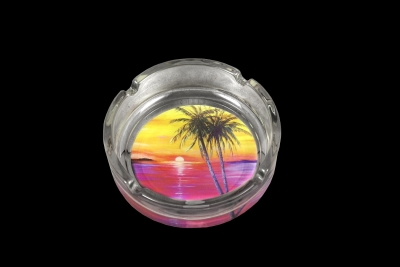 Glass Ashtray Sunset Palm Design