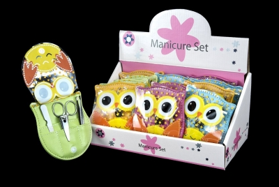Owl Manicure Set - Box of 12 pieces (Assorted Colors)