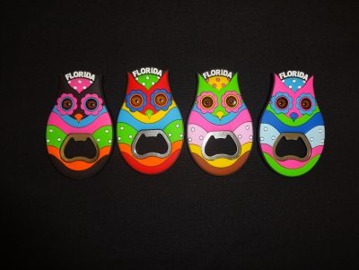PVC Owl Bottle Opener Magnet. - 4 Assorted Colors