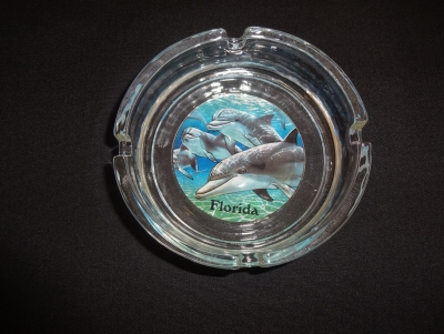 "Glass Ashtray - Dolphin Design 4"" Diameter"