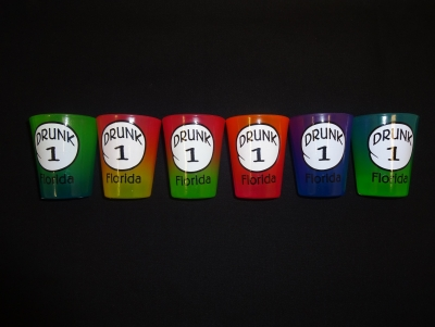 1549 - Rainbow Shot Glass - Drunk #1 - 6 Assorted Colors