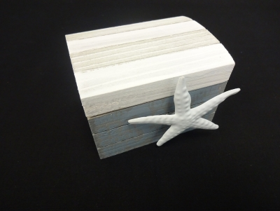 Wooden Trinket Box with Metal Starfish 3.5 x 2.5 x 2.75