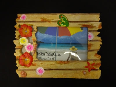 Hibiscus Wood Effect Resin Photo Frame 4 x 6""