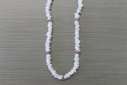 N-8339 - White Chip Necklace with Color Accent