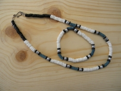N-8416 - White Clam, Denim Bead Necklace & Bracelet Combo