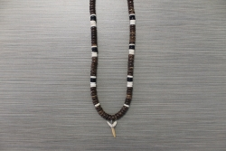 SN-8095    Shark Tooth Neckace w/ 8 mm Brown, Black & White Coco Beads