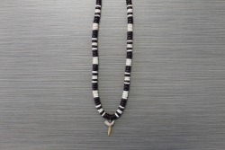 SN-8101    Shark Tooth Neckace w/ 8 mm Brown & White Coco Beads