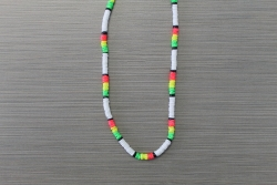 N-8475 - Neon Rasta Colored Clam Shell Necklace