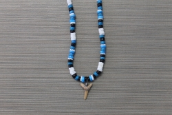 SN-8104 - Blue, Black & White Clam Shark Tooth Necklace