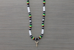 SN-8106 - White Clam and Rasta Color Shark Tooth Necklace