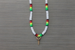 SN-8109 - White & Rasta Color Clam Shell Shark Tooth Necklace