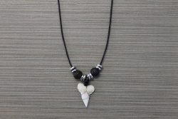SN-8110 - Genuine Shark Tooth Necklace on Cord w/ Metal & Wood Beads