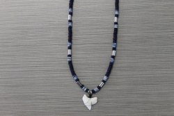 SN-8124 - Genuine Shark Tooth Fashion Necklace w/ Metal & Wood Beads