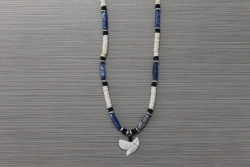 SN-8126 - Genuine Shark Tooth Fashion Necklace w/ Metal & Wood Beads