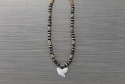 SN-8138 - Genuine Shark Tooth Fashion Necklace w/ Metal & Wood Beads
