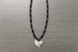 SN-8139 - Genuine Shark Tooth Fashion Necklace w/ Metal & Wood Beads
