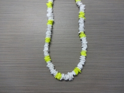 N-8507 - White & Neon Yellow Chip Shell Necklace