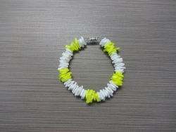 B-8968 - White & Neon Yellow Chip Shell Bracelet