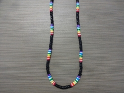 N-8557 - Black Coco & Multi Colored Clam Shell Necklace