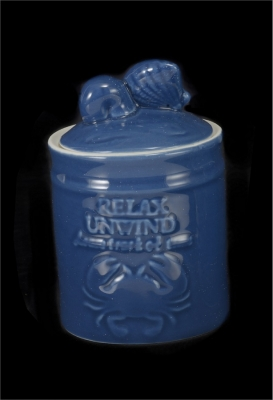 1615 - Blue Glaze Ceramic Trinket Jar 5""