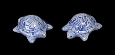 1623 - Blue Glaze Ceramic Turtles Salt & Pepper Shaker