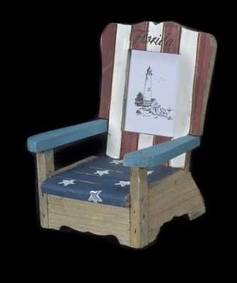 1636 - Wooden Beach Chair Photo Frame - US Flag