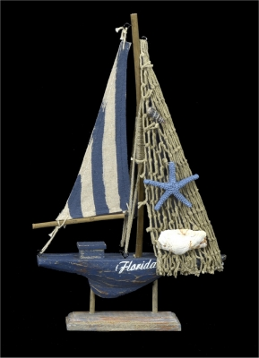 1642 - Wooden Sail Boat - Navy Design