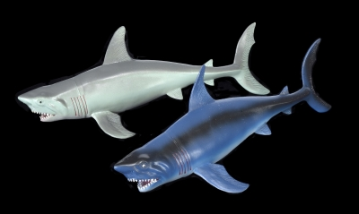 1654 - PVC Squeaky Sharks. 10 inches. Two Assorted Colors