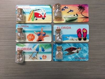 1627 - Epoxy Magnet w/ Sand & Shell Bottle. 6 Assorted Designs.