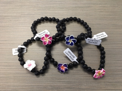B-9001 - Genuine Lava Rock w/ Fimo Flower Stretch Bracelet