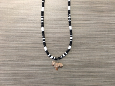 SN-8153    Shark Tooth Neckace W/ White Clam & Black Coco