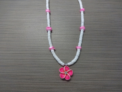 N-8511 - Fimo Flower on Clam Shell Necklace - Pink
