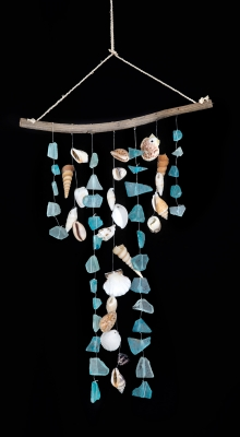 W-273  Sea Glass Windchime w/ Vine Top
