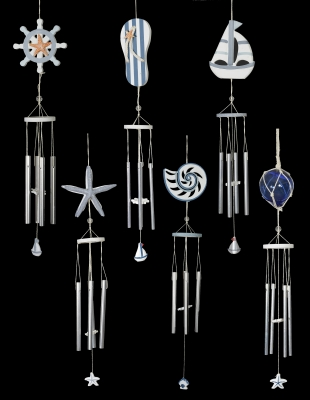 W-275 Nautical Wood and Metal Windchime Assortment - Set of 12 Pieces