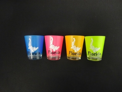 1127 - Neon Shot Glass w/ Glitter Gator Decal - 4 Assorted Colors