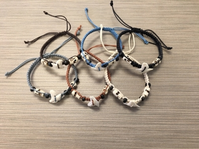 B-9006 Braided Shark Tooth Bracelet with Skull Beads - Assorted Colors