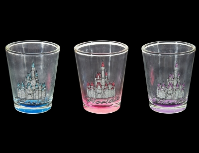 1665 - Castle Shot Glass w/ Glitter Gator Decal - 3 Assorted Colors