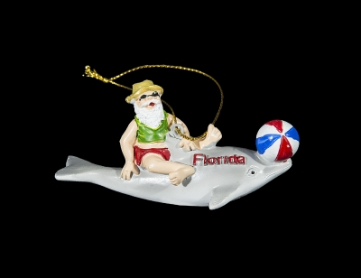 1677 - Santa on Dolphin Ornament (Florida Imprint Only)