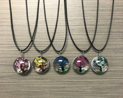 N-8577 - Glass Pendant Necklace on Wax Cord - Flowering Tree Design (Assorted Colors)