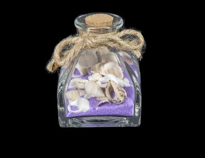 G1028 - Deco Glass Bottle with Sand & Shells - Assorted Colors
