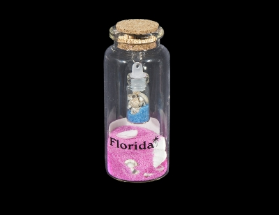 G1032 - Bottle with Sand & Shells and Mini Bottle Inside - Assorted Colors