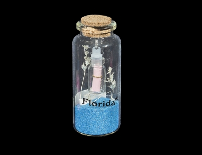 G1033 - Bottle with Sand & Shells and Message in a Bottle Inside - Assorted Colors
